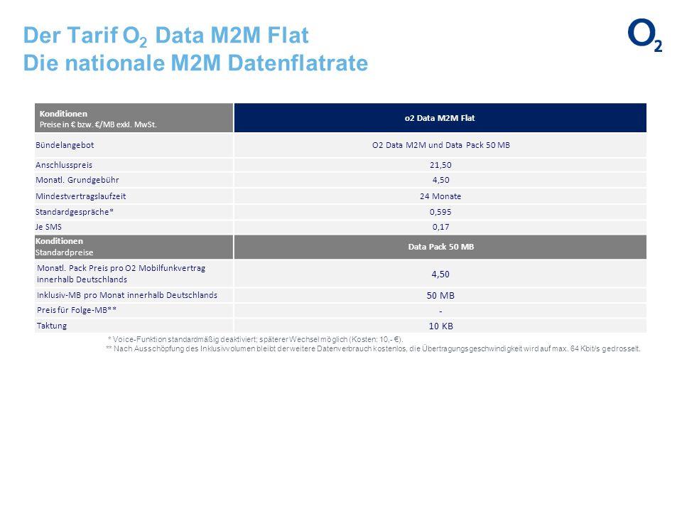 Der Tarif O 2 Data M2M Flat Die nationale M2M Datenflatrate Konditionen Preise in bzw. /MB exkl. MwSt. o2 Data M2M Flat BündelangebotO2 Data M2M und D