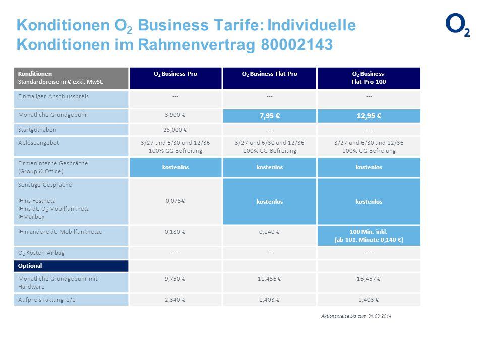 Konditionen O 2 Business Tarife: Individuelle Konditionen im Rahmenvertrag 80002143 Konditionen Standardpreise in exkl. MwSt. O 2 Business ProO 2 Busi