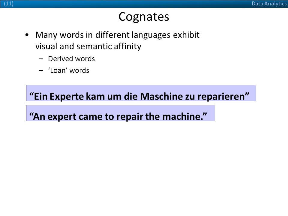 Data Analytics(11) Cognates Many words in different languages exhibit visual and semantic affinity –Derived words –Loan words Ein Experte kam um die Maschine zu reparieren An expert came to repair the machine.