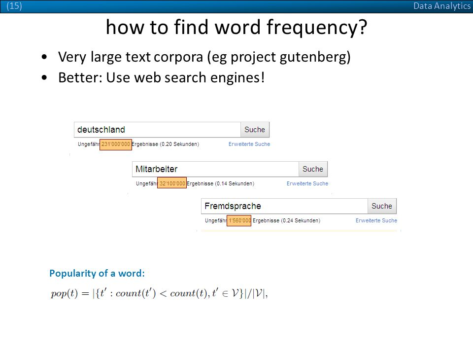 Data Analytics(15) how to find word frequency. Better: Use web search engines.