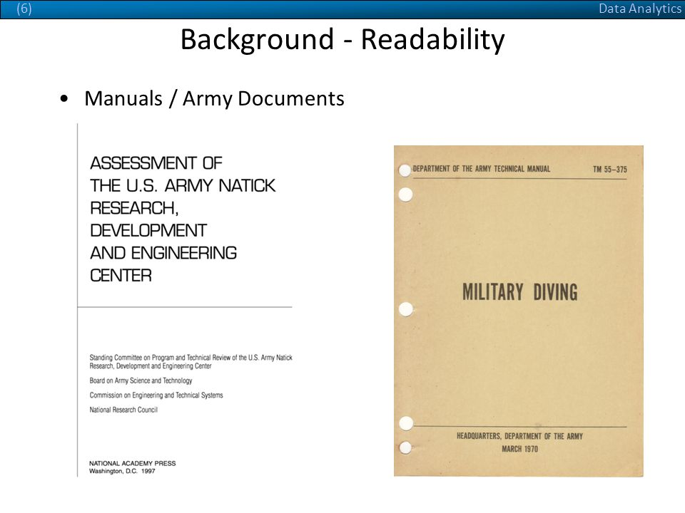 Data Analytics(6) Background - Readability Manuals / Army Documents
