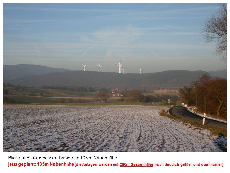Blick auf Blickershausen, basierend 108 m Nabenh ö he jetzt geplant: 135m Nabenh ö he (die Anlagen werden mit 200m Gesamth ö he noch deutlich gr öß er