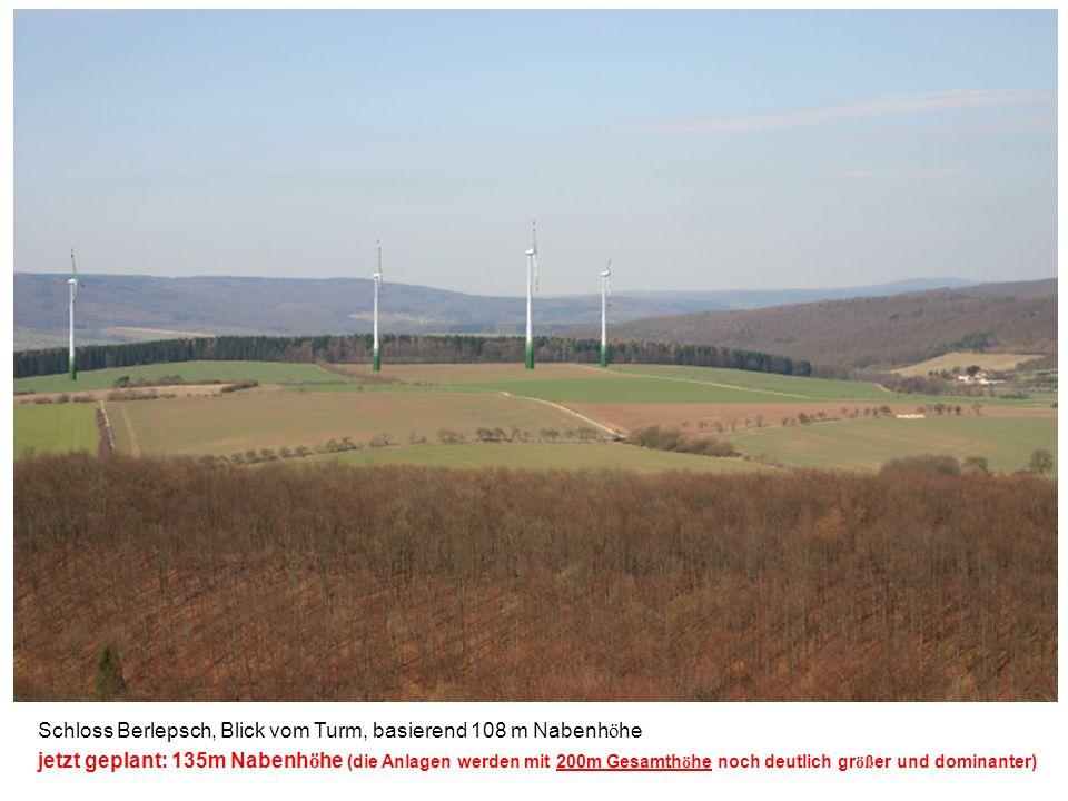Schloss Berlepsch, Blick vom Turm, basierend 108 m Nabenh ö he jetzt geplant: 135m Nabenh ö he (die Anlagen werden mit 200m Gesamth ö he noch deutlich gr öß er und dominanter )