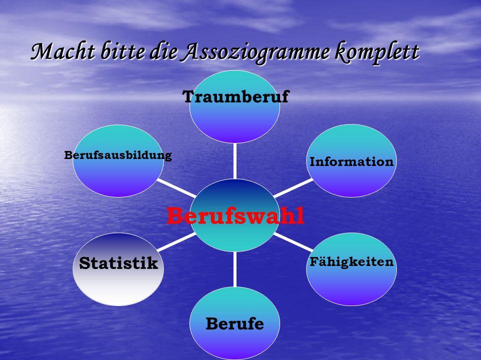 Macht bitte die Assoziogramme komplett Berufswahl Traumberuf Information Fähigkeiten Berufe StatistikBerufsausbildung