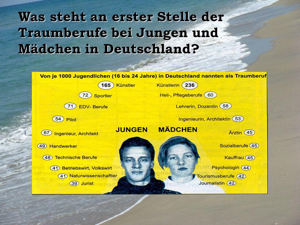 Was steht an erster Stelle der Traumberufe bei Jungen und Mädchen in Deutschland?