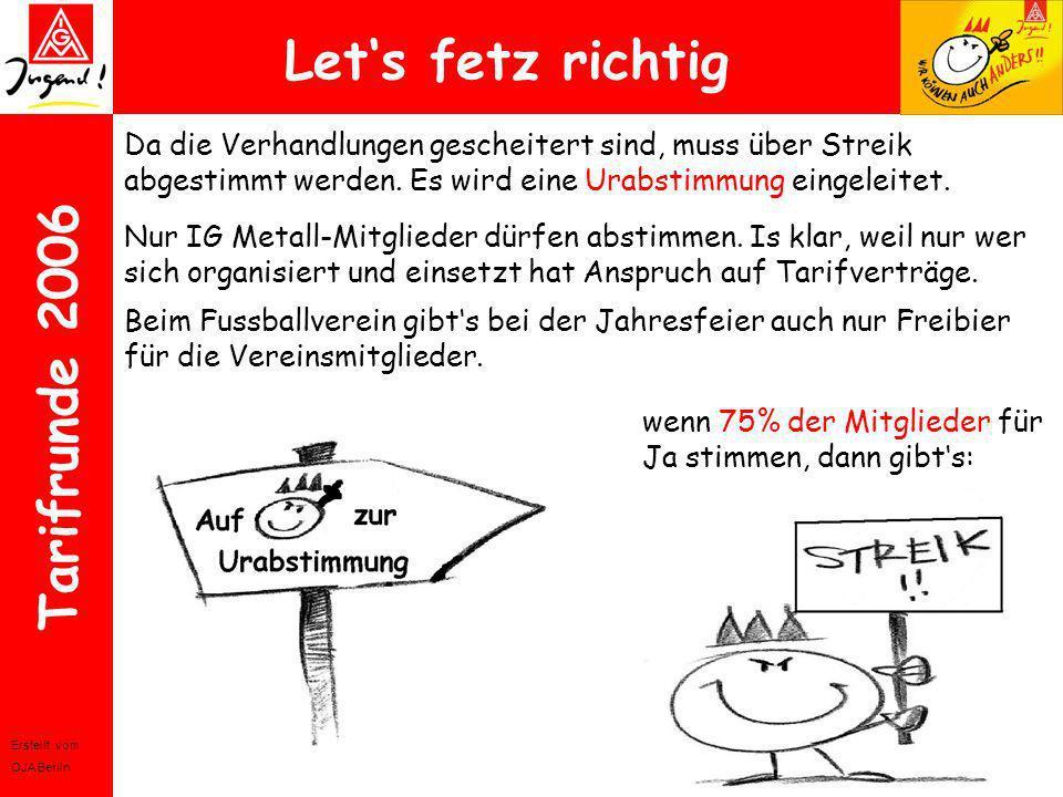 Erstellt vom OJA Berlin Tarifrunde 2006 Lets fetz richtig Da die Verhandlungen gescheitert sind, muss über Streik abgestimmt werden. Es wird eine Urab