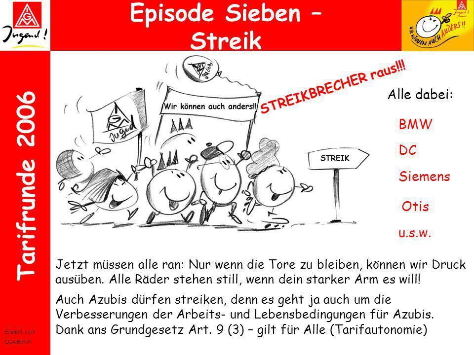 Erstellt vom OJA Berlin Tarifrunde 2006 Episode Sieben – Streik Alle dabei: BMW DC Siemens Otis Jetzt müssen alle ran: Nur wenn die Tore zu bleiben, k
