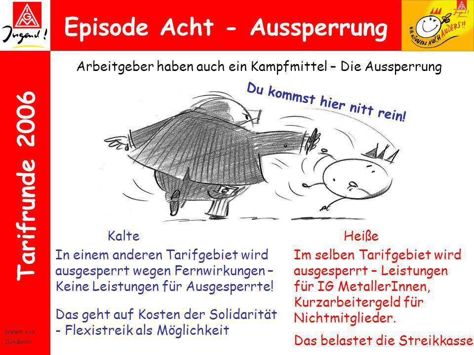 Erstellt vom OJA Berlin Tarifrunde 2006 Episode Acht - Aussperrung Arbeitgeber haben auch ein Kampfmittel – Die Aussperrung KalteHeiße Du kommst hier