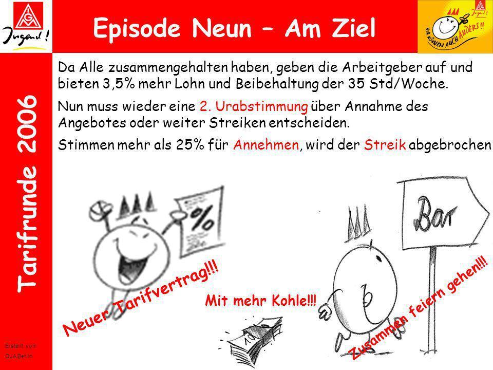 Erstellt vom OJA Berlin Tarifrunde 2006 Episode Neun – Am Ziel Da Alle zusammengehalten haben, geben die Arbeitgeber auf und bieten 3,5% mehr Lohn und
