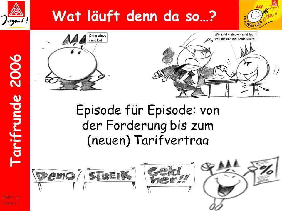 Erstellt vom OJA Berlin Tarifrunde 2006 Wat läuft denn da so…? Episode für Episode: von der Forderung bis zum (neuen) Tarifvertrag