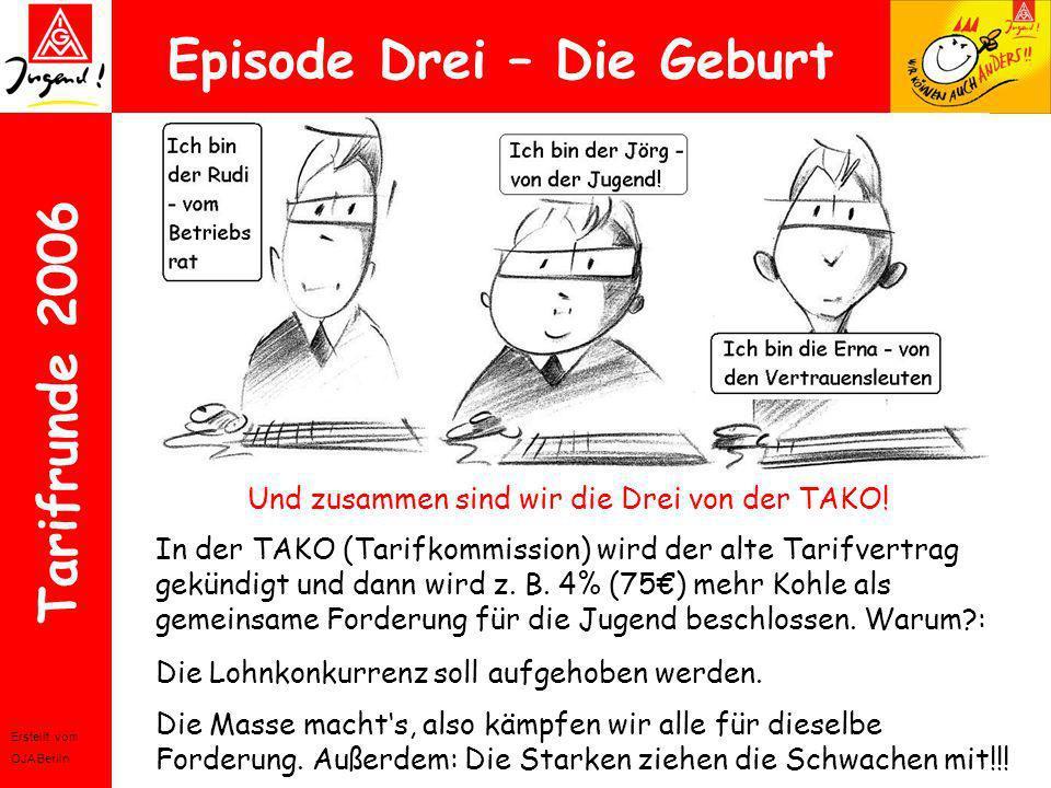Erstellt vom OJA Berlin Tarifrunde 2006 Episode Drei – Die Geburt Und zusammen sind wir die Drei von der TAKO! In der TAKO (Tarifkommission) wird der
