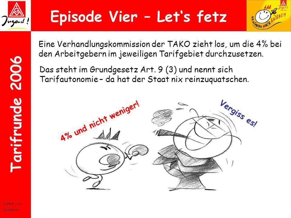 Erstellt vom OJA Berlin Tarifrunde 2006 Episode Vier – Lets fetz Eine Verhandlungskommission der TAKO zieht los, um die 4% bei den Arbeitgebern im jew