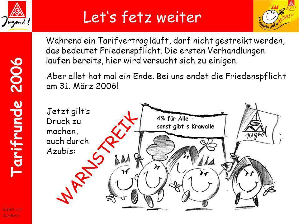 Erstellt vom OJA Berlin Tarifrunde 2006 Lets fetz weiter Während ein Tarifvertrag läuft, darf nicht gestreikt werden, das bedeutet Friedenspflicht. Di