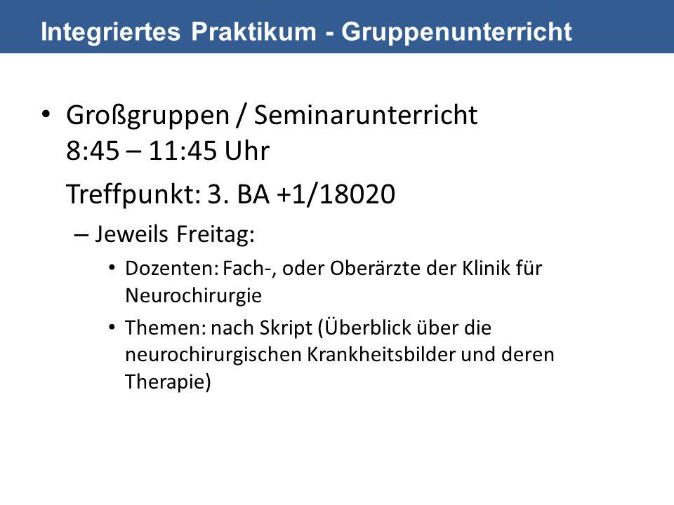 Integriertes Praktikum - Gruppenunterricht Großgruppen / Seminarunterricht 8:45 – 11:45 Uhr Treffpunkt: 3.
