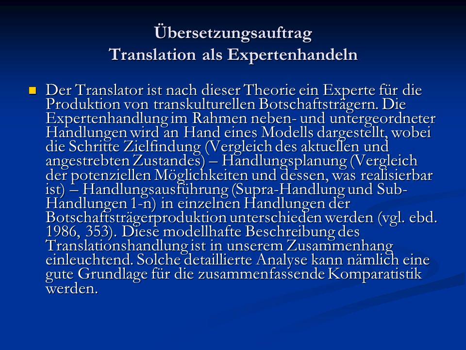 Übersetzungsauftrag Translation als Expertenhandeln Der Translator ist nach dieser Theorie ein Experte für die Produktion von transkulturellen Botscha