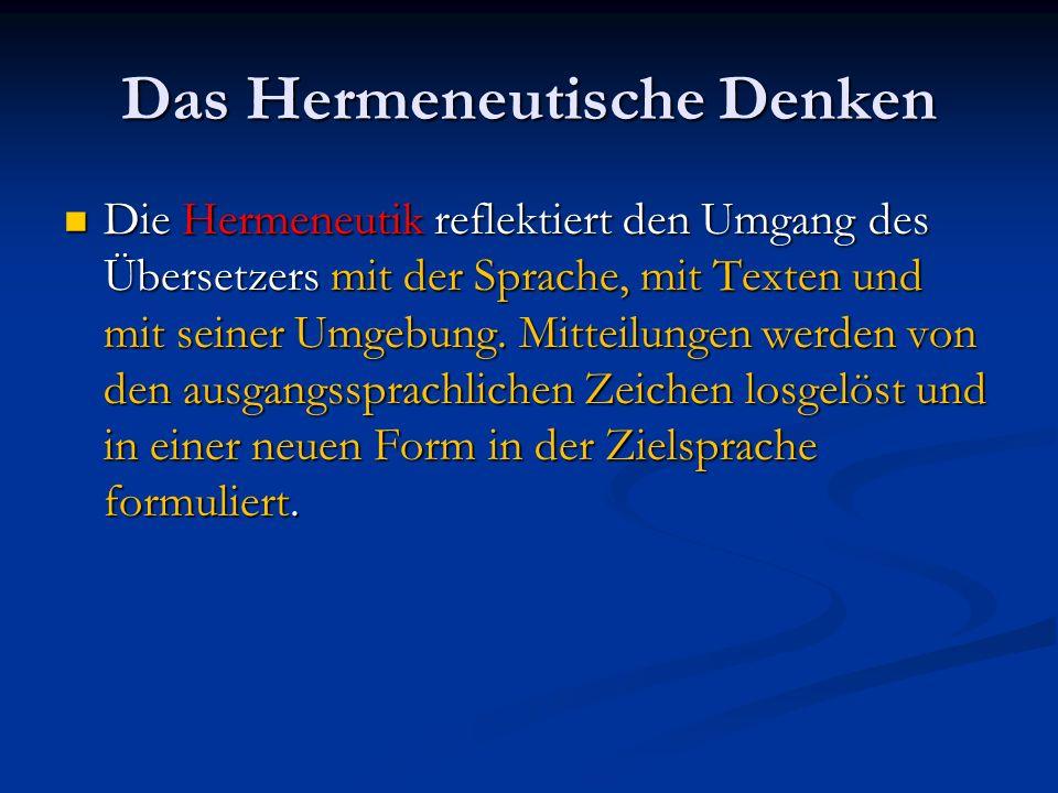 Das Hermeneutische Denken Die Hermeneutik reflektiert den Umgang des Übersetzers mit der Sprache, mit Texten und mit seiner Umgebung. Mitteilungen wer