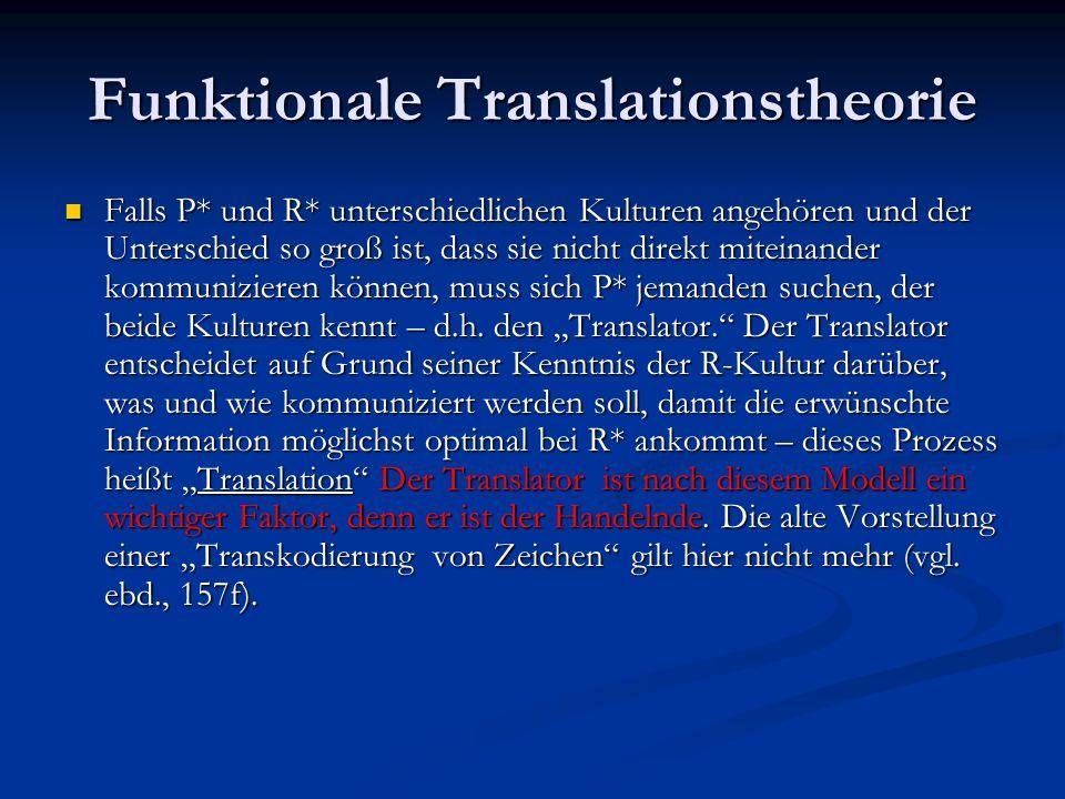 Funktionale Translationstheorie Falls P* und R* unterschiedlichen Kulturen angehören und der Unterschied so groß ist, dass sie nicht direkt miteinande