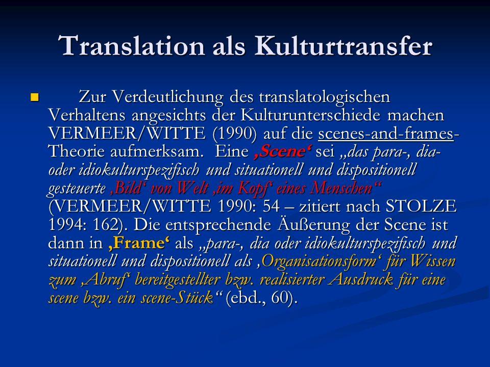 Translation als Kulturtransfer Zur Verdeutlichung des translatologischen Verhaltens angesichts der Kulturunterschiede machen VERMEER/WITTE (1990) auf