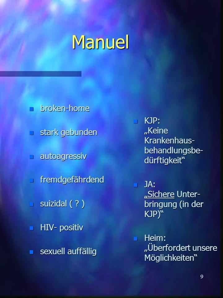 9 Manuel n broken-home n stark gebunden n autoagressiv n fremdgefährdend n suizidal ( .
