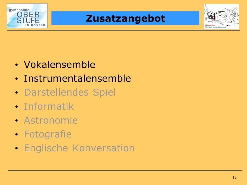11 Vokalensemble Instrumentalensemble Darstellendes Spiel Informatik Astronomie Fotografie Englische Konversation Zusatzangebot