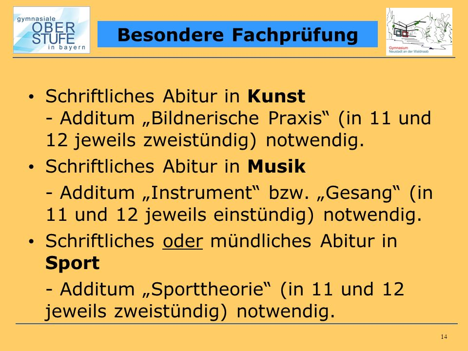 14 Schriftliches Abitur in Kunst - Additum Bildnerische Praxis (in 11 und 12 jeweils zweistündig) notwendig. Schriftliches Abitur in Musik - Additum I