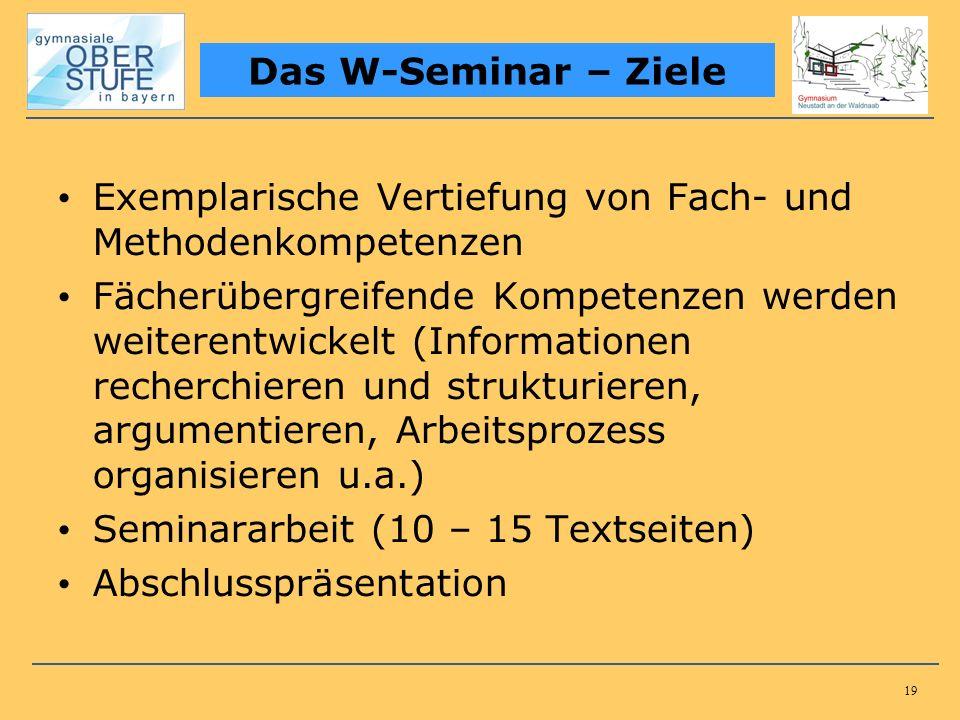 19 Exemplarische Vertiefung von Fach- und Methodenkompetenzen Fächerübergreifende Kompetenzen werden weiterentwickelt (Informationen recherchieren und