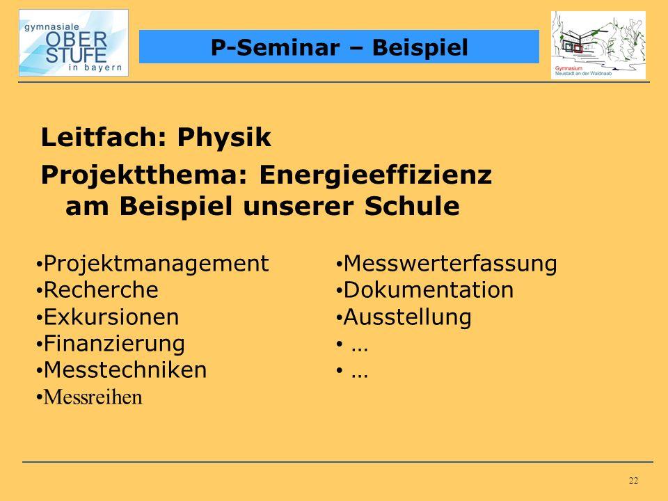 22 Leitfach: Physik Projektthema: Energieeffizienz am Beispiel unserer Schule P-Seminar – Beispiel Projektmanagement Recherche Exkursionen Finanzierun