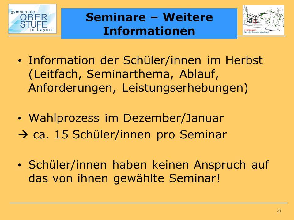 23 Information der Schüler/innen im Herbst (Leitfach, Seminarthema, Ablauf, Anforderungen, Leistungserhebungen) Wahlprozess im Dezember/Januar ca.