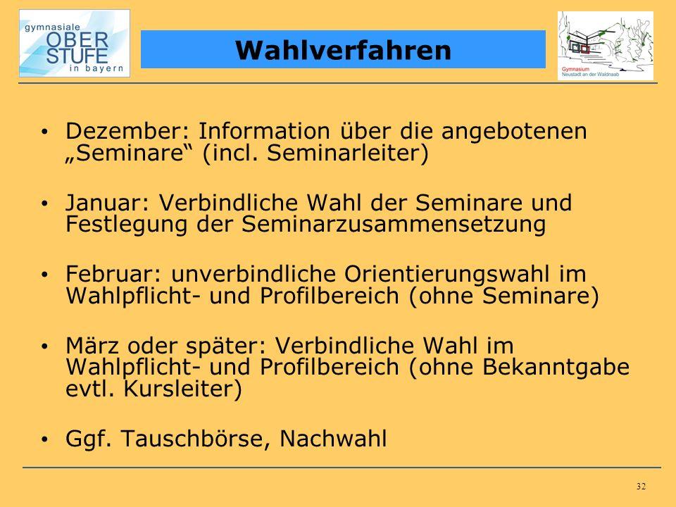 32 Dezember: Information über die angebotenen Seminare (incl. Seminarleiter) Januar: Verbindliche Wahl der Seminare und Festlegung der Seminarzusammen