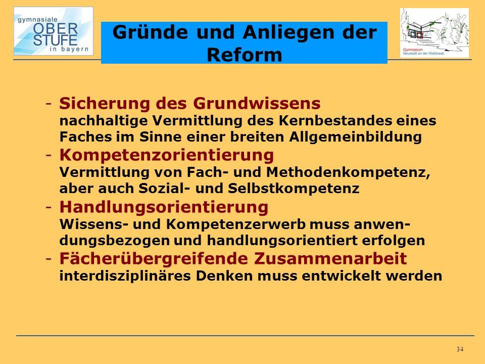 34 Gründe und Anliegen der Reform -Sicherung des Grundwissens nachhaltige Vermittlung des Kernbestandes eines Faches im Sinne einer breiten Allgemeinb
