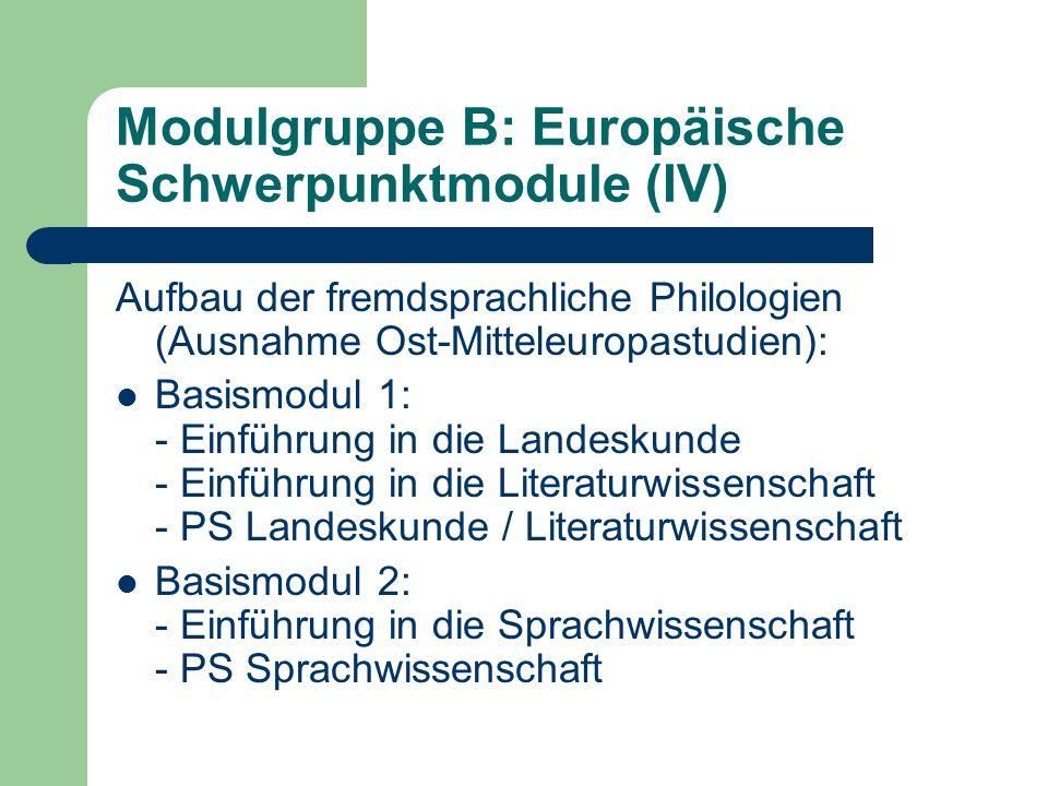 Modulgruppe B: Europäische Schwerpunktmodule (V) Eines (Schwerpunkt 2) oder zwei (Schwerpunkt 1) Prüfungsmodule aus: - Literatur und Kultur im europäischen Vergleich - die Literatur und Kultur des jeweiligen Landes - die Sprachwissenschaft des jeweiligen Landes Dabei ist in jedem Prüfungsmodul jeweils eine Vorlesung und ein Proseminar oder Hauptseminar zu besuchen.
