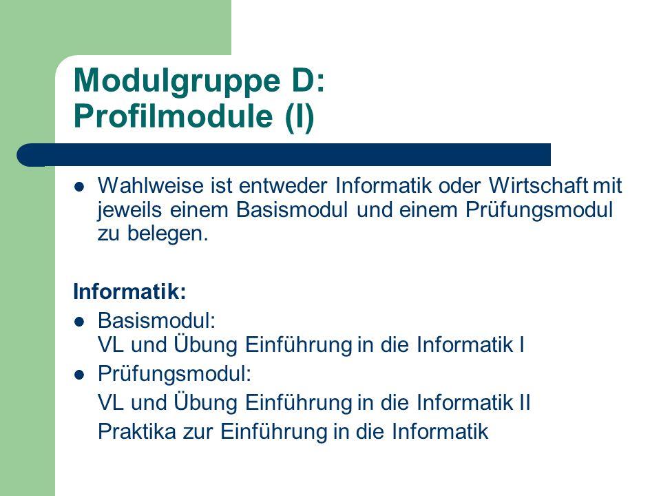Modulgruppe D: Profilmodule (II) Wirtschaftswissenschaften: Basismodul VL und WÜ Betriebliches Rechnungswesen Eines von zwei Prüfungsmodulen Prüfungsmodul BWL V Einführung in die Betriebswirtschaftslehre V Absatz V Personal und Organisation Prüfungsmodul VWL V Einführung in die Volkswirtschaftslehre V Grundlagen der Finanzwissenschaft V Grundlagen der Wirtschaftspolitik