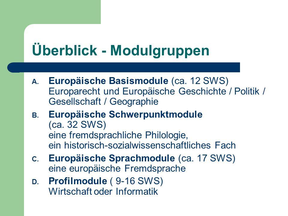 Überblick - Modulgruppen A. Europäische Basismodule (ca.
