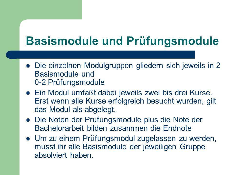 Basismodule und Prüfungsmodule Die einzelnen Modulgruppen gliedern sich jeweils in 2 Basismodule und 0-2 Prüfungsmodule Ein Modul umfaßt dabei jeweils zwei bis drei Kurse.