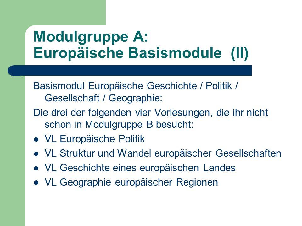 Modulgruppe B: Europäische Schwerpunktmodule (I) Zu wählen sind eine fremdsprachliche Philologie (Kulturraum) aus: Anglistik Frankoromanistik Hispanistik Italianistik Ostmitteleuropastudien