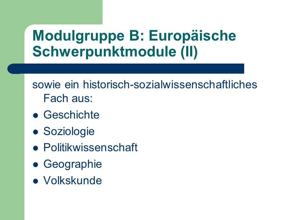 Modulgruppe B: Europäische Schwerpunktmodule (II) sowie ein historisch-sozialwissenschaftliches Fach aus: Geschichte Soziologie Politikwissenschaft Geographie Volkskunde