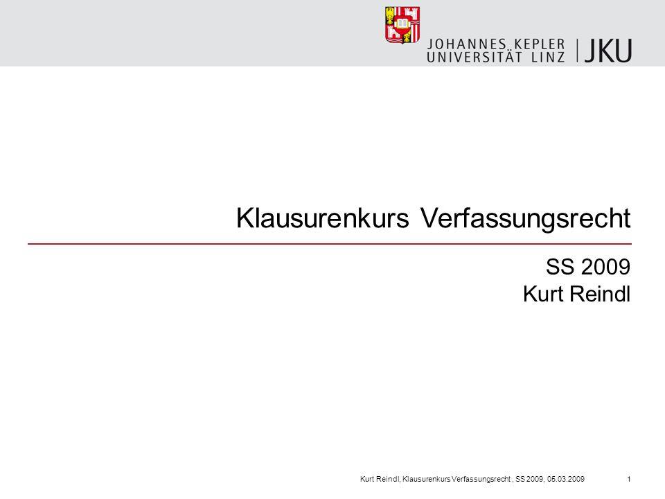 Klausurenkurs Verfassungsrecht SS 2009 Kurt Reindl Kurt Reindl, Klausurenkurs Verfassungsrecht, SS 2009, 05.03.20091
