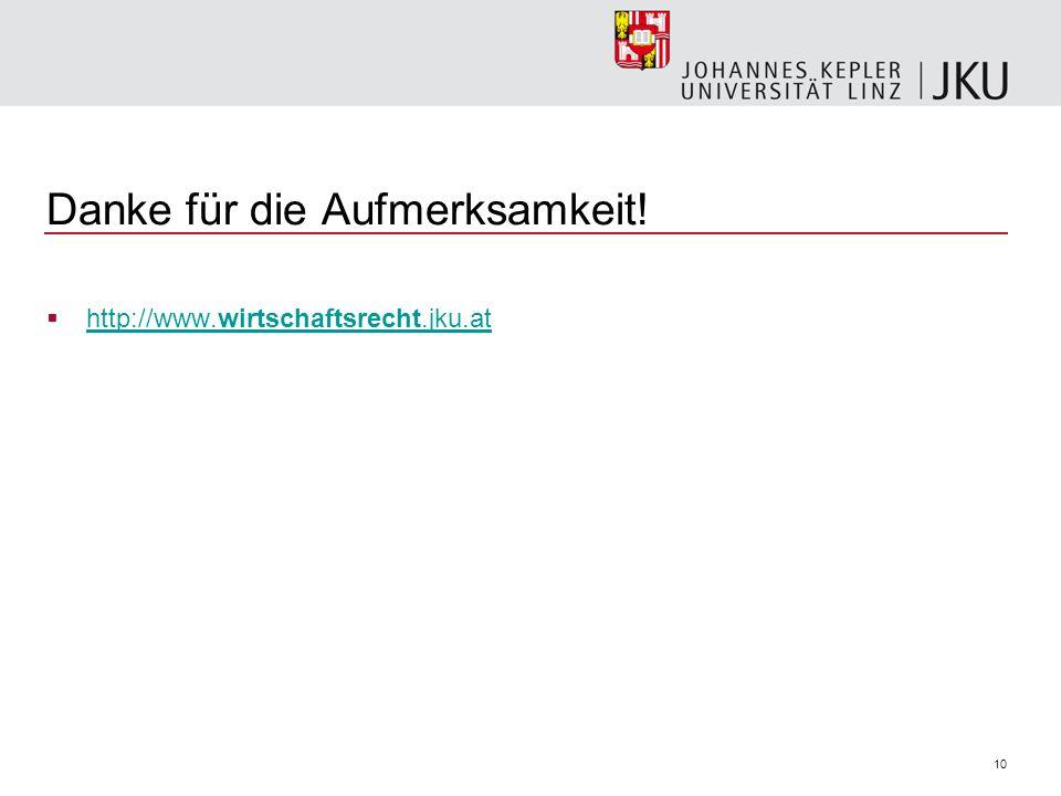 10 Danke für die Aufmerksamkeit! http://www.wirtschaftsrecht.jku.at http://www.wirtschaftsrecht.jku.at