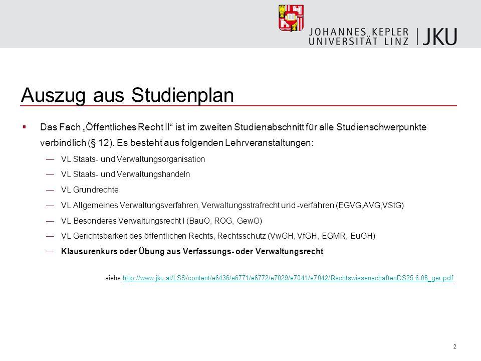 2 Auszug aus Studienplan Das Fach Öffentliches Recht II ist im zweiten Studienabschnitt für alle Studienschwerpunkte verbindlich (§ 12). Es besteht au
