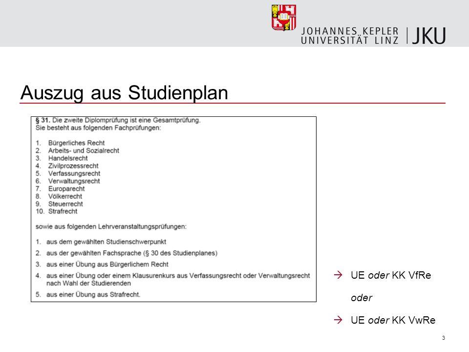 3 Auszug aus Studienplan UE oder KK VfRe oder UE oder KK VwRe