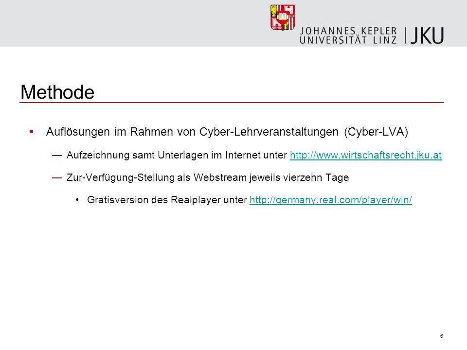 6 Methode Auflösungen im Rahmen von Cyber-Lehrveranstaltungen (Cyber-LVA) Aufzeichnung samt Unterlagen im Internet unter http://www.wirtschaftsrecht.jku.athttp://www.wirtschaftsrecht.jku.at Zur-Verfügung-Stellung als Webstream jeweils vierzehn Tage Gratisversion des Realplayer unter http://germany.real.com/player/win/http://germany.real.com/player/win/