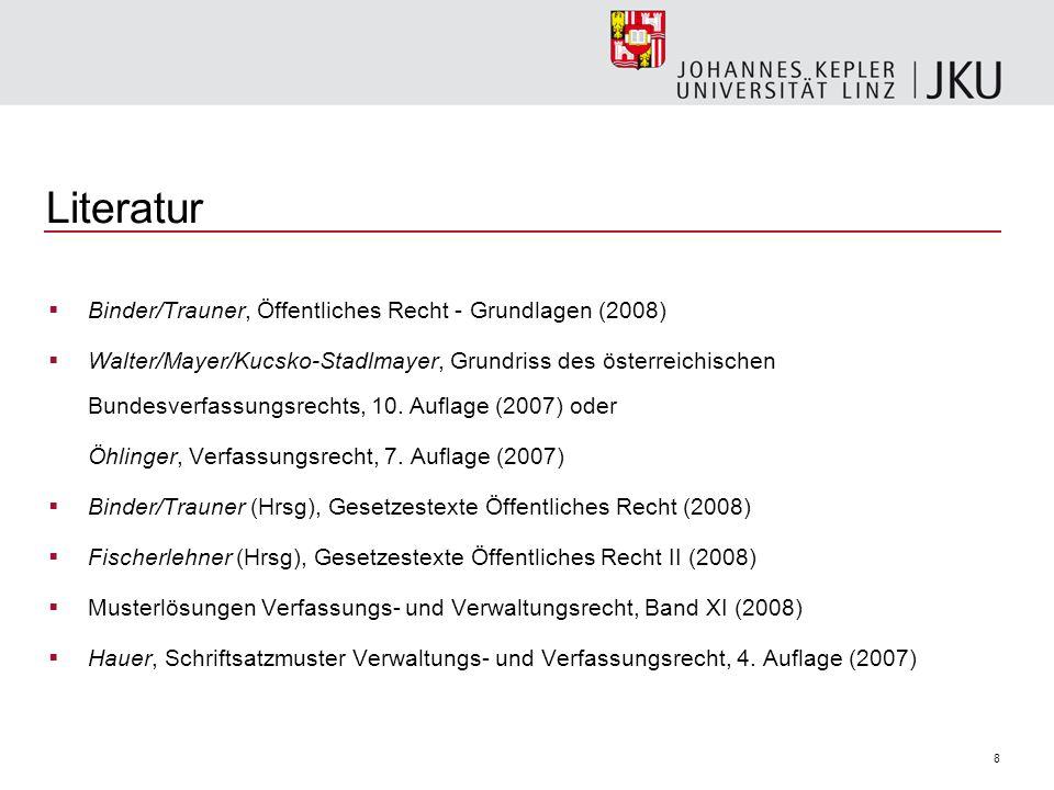 8 Literatur Binder/Trauner, Öffentliches Recht - Grundlagen (2008) Walter/Mayer/Kucsko-Stadlmayer, Grundriss des österreichischen Bundesverfassungsrec