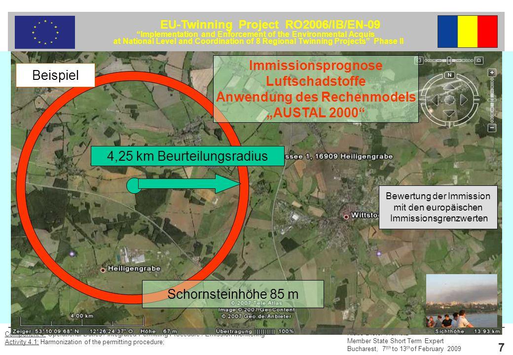 EU-Twinning Project RO2006/IB/EN-09 Implementation and Enforcement of the Environmental Acquis at National Level and Coordination of 8 Regional Twinning Projects Phase II Klaus-Dieter Warnatz Member State Short Term Expert Bucharest, 7 tth to 13 th of February 2009 8 Component 4: Operational Duties / Integrated Permitting Procedure / Emission Monitoring Activity 4.1: Harmonization of the permitting procedure; Stoff Konzentration µg/m 3 Mittelungszeitraum Zulässige Überschreitungshäufigkeit im Jahr Schwefeldioxid50 125 350 Jahr 24 Stunden 1 Stunde - 3 24 Stickstoffdioxid40 200 Jahr 1 Stunde - 18 Benzol 5Jahr- Kohlenmonoxid 10 mg/m 3 8 Stunden- Tetrachlorethen 10Jahr- Schwebstaub (PM 10)40 50 Jahr 24 Stunden - 35 Blei und seine anorganischen Verbindungen als Bestandteile des Schwebstaubes (PM–10), angegeben als Pb 0,5Jahr- EU-Grenzwerte