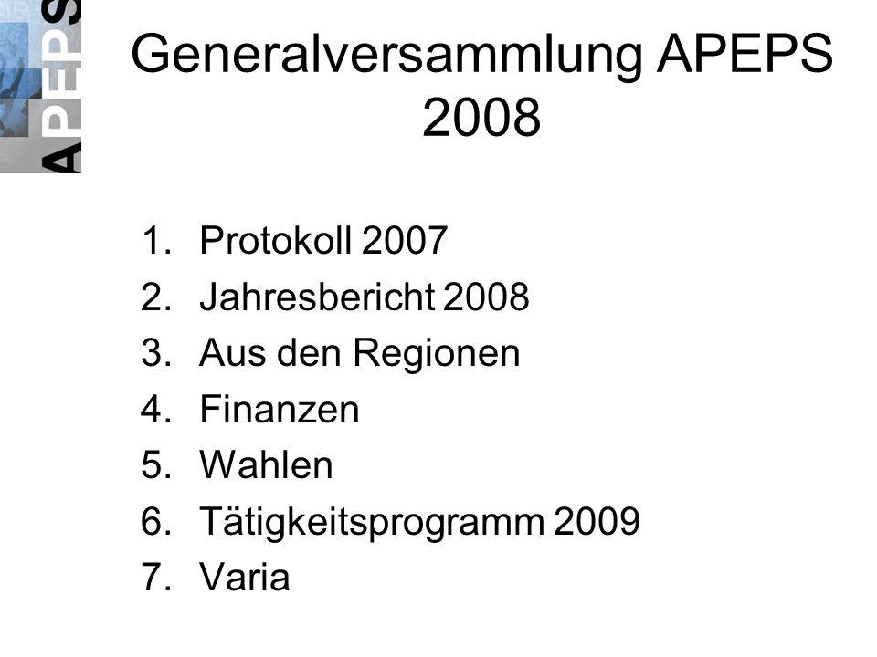 Generalversammlung APEPS 2008 1.Protokoll 2007 2.Jahresbericht 2008 3.Aus den Regionen 4.Finanzen 5.Wahlen 6.Tätigkeitsprogramm 2009 7.Varia