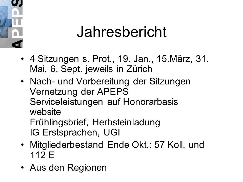 Jahresbericht 4 Sitzungen s. Prot., 19. Jan., 15.März, 31.
