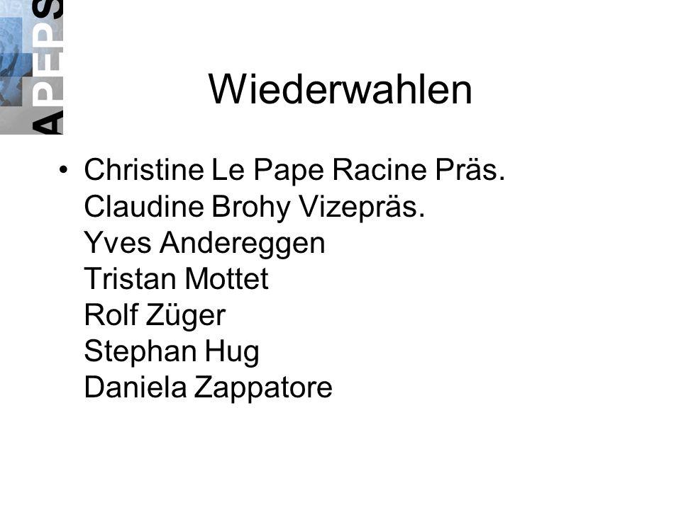 Wiederwahlen Christine Le Pape Racine Präs. Claudine Brohy Vizepräs.