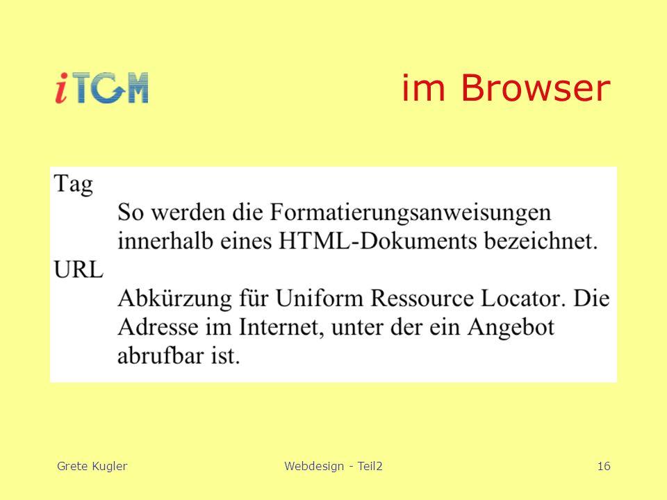 Grete KuglerWebdesign - Teil216 im Browser