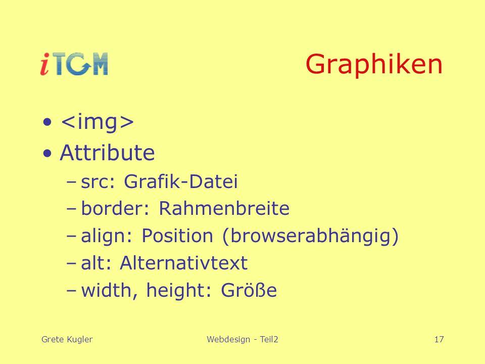Grete KuglerWebdesign - Teil217 Graphiken Attribute –src: Grafik-Datei –border: Rahmenbreite –align: Position (browserabhängig) –alt: Alternativtext –