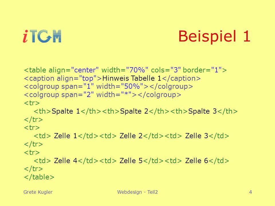 Grete KuglerWebdesign - Teil24 Beispiel 1 Hinweis Tabelle 1 Spalte 1 Spalte 2 Spalte 3 Zelle 1 Zelle 2 Zelle 3 Zelle 4 Zelle 5 Zelle 6