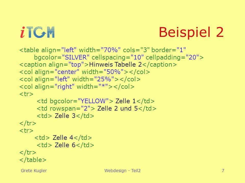 Grete KuglerWebdesign - Teil27 Beispiel 2 <table align= left width= 70% cols= 3 border= 1 bgcolor= SILVER cellspacing= 10 cellpadding= 20 > Hinweis Tabelle 2 Zelle 1 Zelle 2 und 5 Zelle 3 Zelle 4 Zelle 6